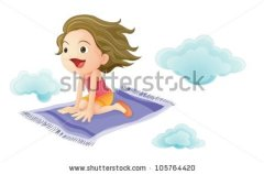 girl flying on a magic carpet